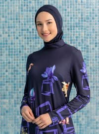 Navy Blue - Floral - Geometric - Tropical - Full Coverage Swimsuit Burkini
