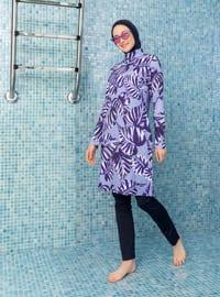 Dark Navy Blue - Dark Blue - Navy Blue - Blue - Floral - Tropical - Full Coverage Swimsuit Burkini