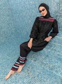 Black - Printed - Stripe - Full Coverage Swimsuit Burkini
