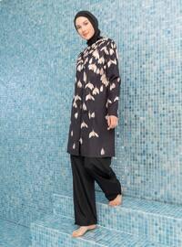 Black - Floral - Full Coverage Swimsuit Burkini