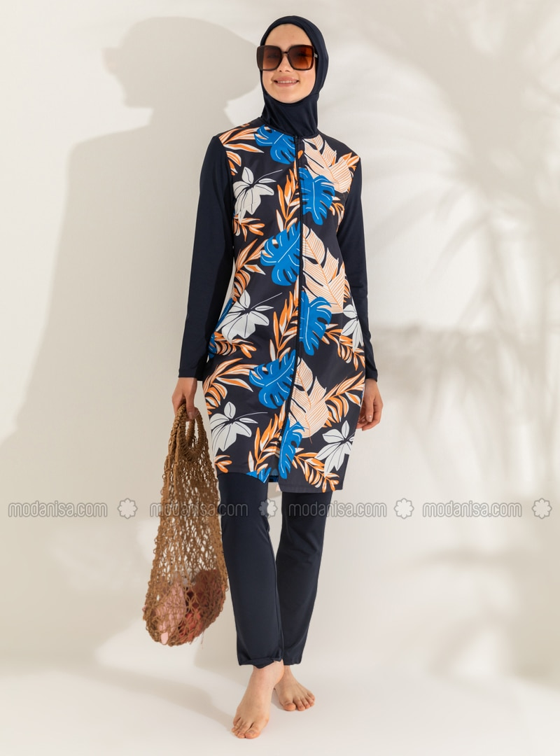 Navy Blue - Floral - Tropical - Full Coverage Swimsuit Burkini