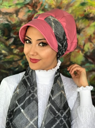 Gray - Pink - Printed - Instant Scarf