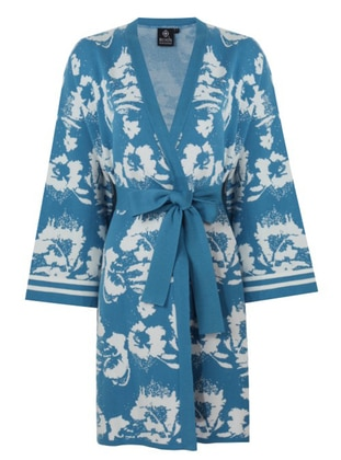 White - Blue - Unlined - Floral - Jacquard - Knit Jackets - ROHS FASHİON