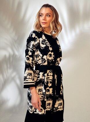 White - Black - Unlined - Floral - Jacquard - Knit Jackets