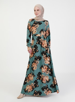 Mint - Multi - Crew neck - Unlined - Modest Dress