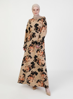 Mink - Multi - Crew neck - Unlined - Modest Dress