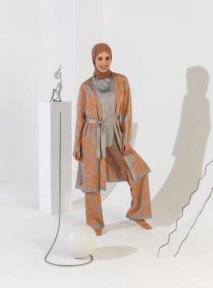 Gray - Orange - Unlined - Floral - Jacquard - Knit Jackets