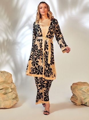 Gold - Black - Unlined - Floral - Jacquard - Knit Jackets