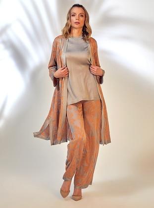 Gray - Orange - Jacquard - Knit Pants - ROHS FASHİON