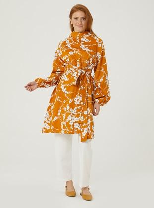 Mustard - Floral - Polo neck - Tunic