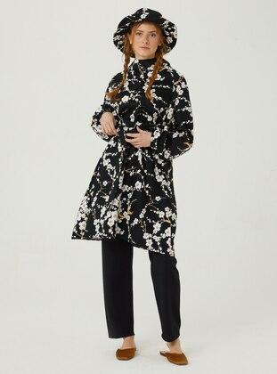 Black - Floral - Polo neck - Tunic