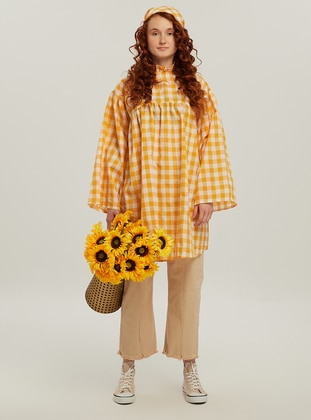 Yellow - Gingham - Polo neck - Tunic