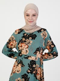 Mint - Multi - Crew neck - Unlined - Modest Dress