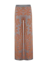 Gray - Orange - Jacquard - Knit Pants