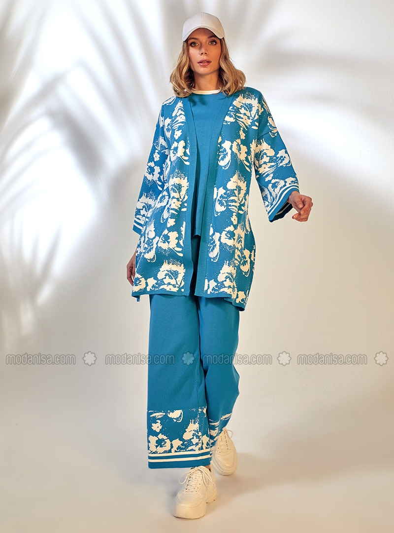White - Blue - Jacquard - Knit Pants