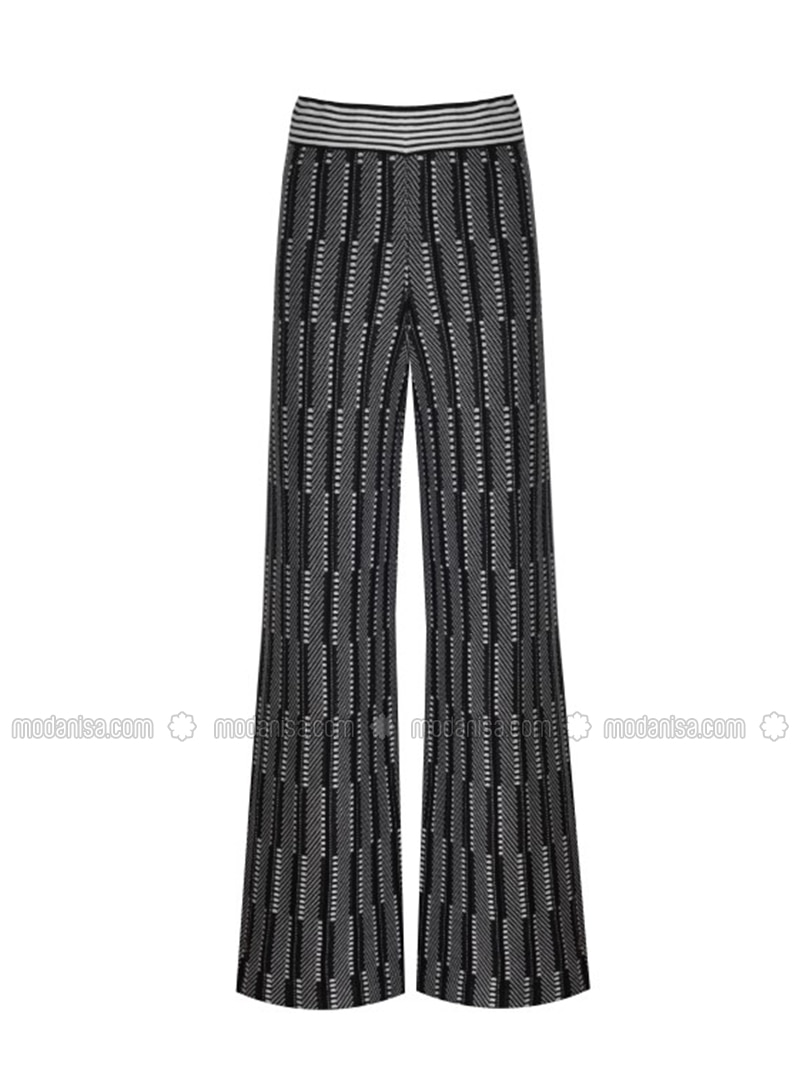 Black - Jacquard - Knit Pants