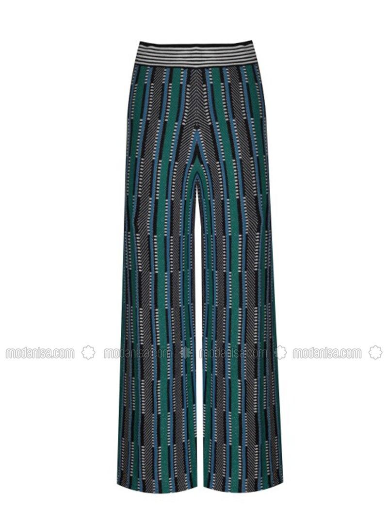 Green - Jacquard - Knit Pants