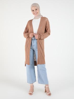 Camel - Plus Size Cardigans - Arıkan