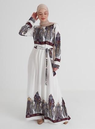 Ecru - Multi - Crew neck - Unlined - Modest Dress