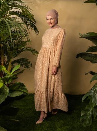 Camel - Crew neck - Unlined - Modest Dress