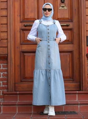 Unlined - Blue - Skirt Overalls