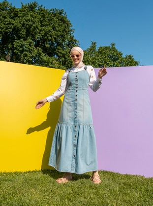 Unlined - Blue - Skirt Overalls - Neways