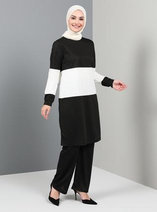 Black - Unlined - Crew neck - Suit