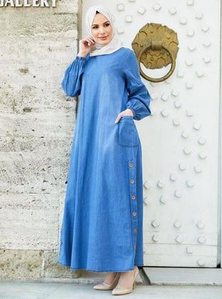 Blue - Crew neck - Unlined - Denim - Modest Dress