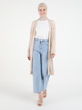 Beige - Plus Size Cardigans - Arıkan