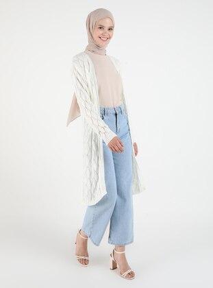 Ecru - Plus Size Cardigans - Arıkan