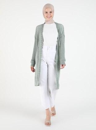 Green - Plus Size Cardigans - Arıkan