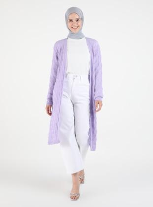 Lilac - Plus Size Cardigans - Arıkan
