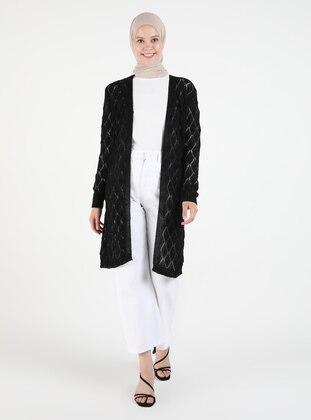 Black - Plus Size Cardigans - Arıkan