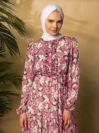 White - Ecru - Fuchsia - Floral - V neck Collar - Fully Lined - Modest Dress