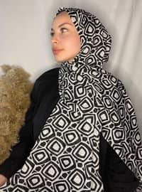 White - Black - Printed - Cotton - Shawl