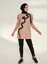 Ribbon Embroidery Tracksuit Top - Tan