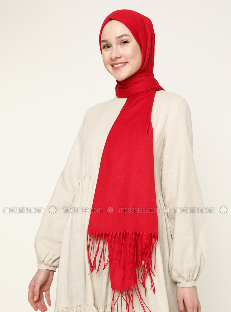 Red - Printed - Shawl