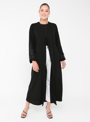 Black - Unlined - V neck Collar - Plus Size Coat