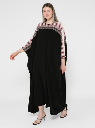 Beige - Black - Multi - Crew neck - Unlined - Plus Size Abaya - Alia