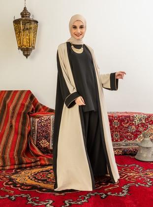 Beige - Black - Unlined - V neck Collar - Abaya