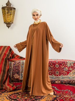Cinnamon - Unlined - V neck Collar - Abaya