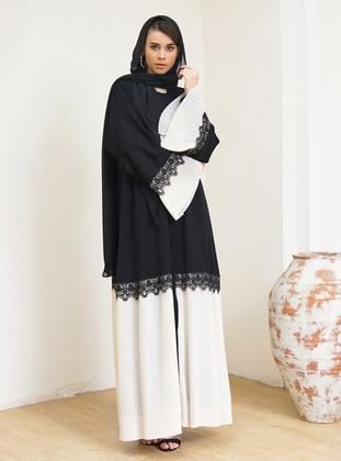 Cream - Black - Unlined - V neck Collar - Abaya