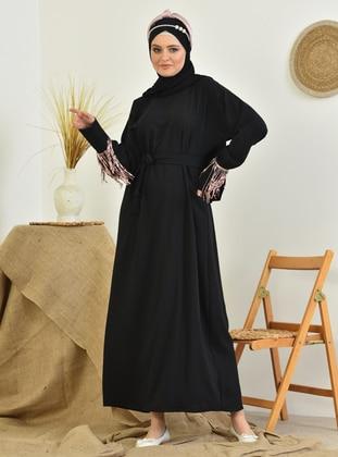 Rose - Black - Crew neck - Unlined - Modest Dress