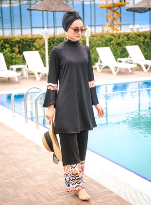 Black - Multi - Full Coverage Swimsuit Burkini