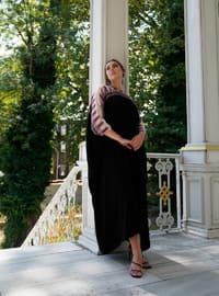 Beige - Black - Multi - Crew neck - Unlined - Plus Size Abaya