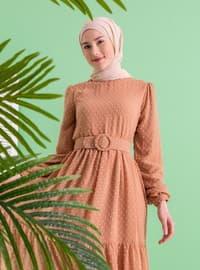 Salmon - Crew neck - Fully Lined - Modest Dress