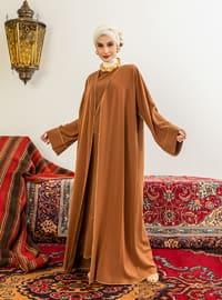 Cinnamon - Unlined - V neck Collar - Abaya