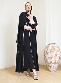 Powder - Black - Unlined - V neck Collar - Abaya