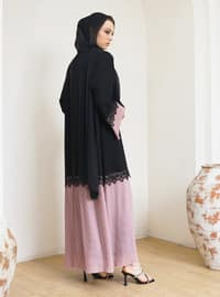 Dusty Rose - Black - Unlined - V neck Collar - Abaya