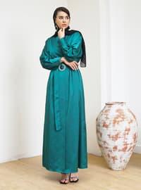 Green - Unlined - V neck Collar - Abaya